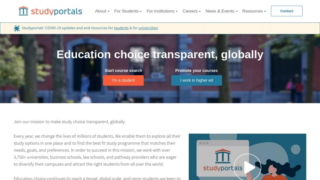 Screenshot of Studyportals's Website