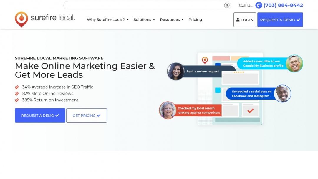 Screenshot of Surefire Social's Website