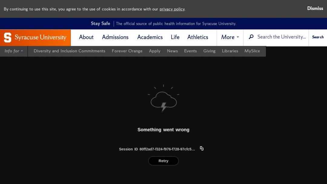Screenshot of Syracuse University's Website