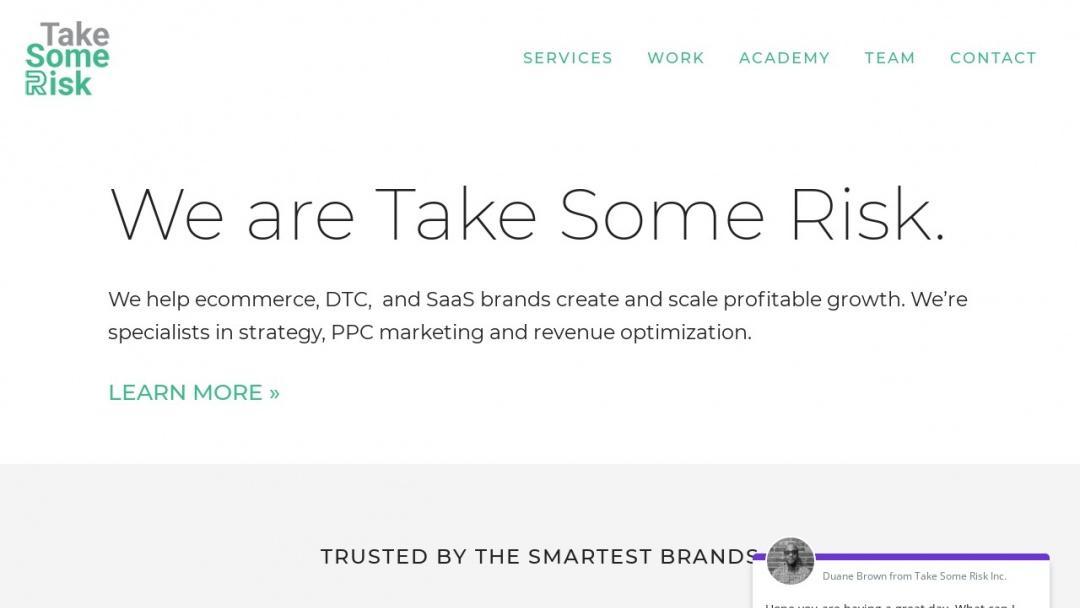 Screenshot of Take Some Risk Inc.'s Website
