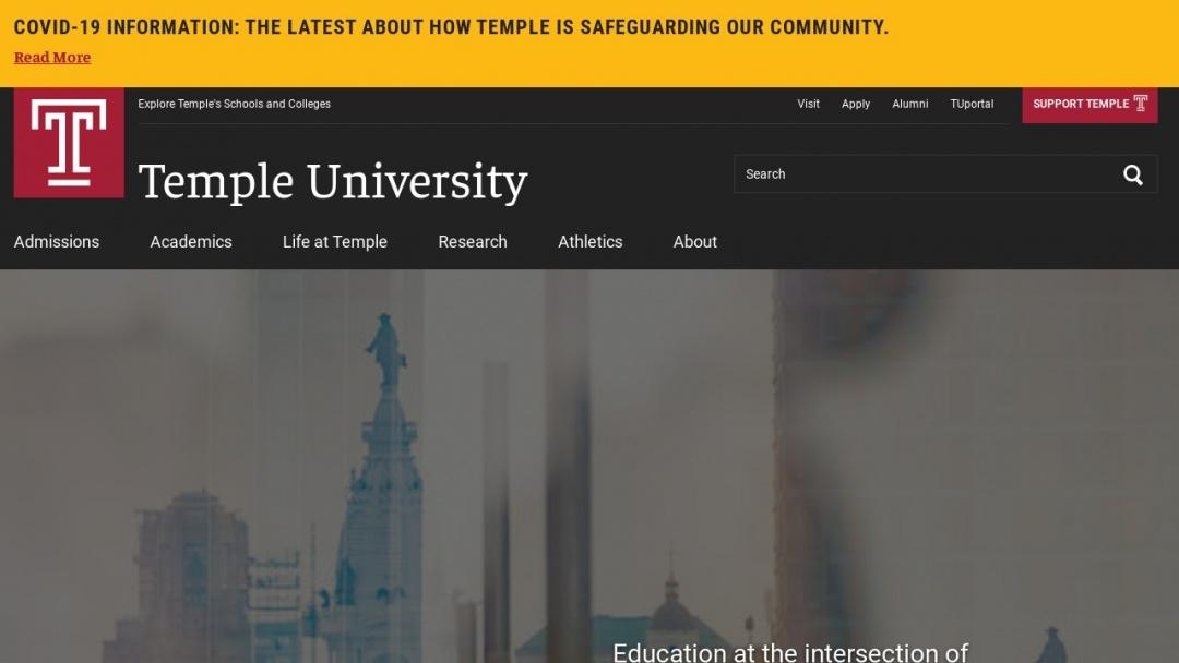 Screenshot of Temple University's Website