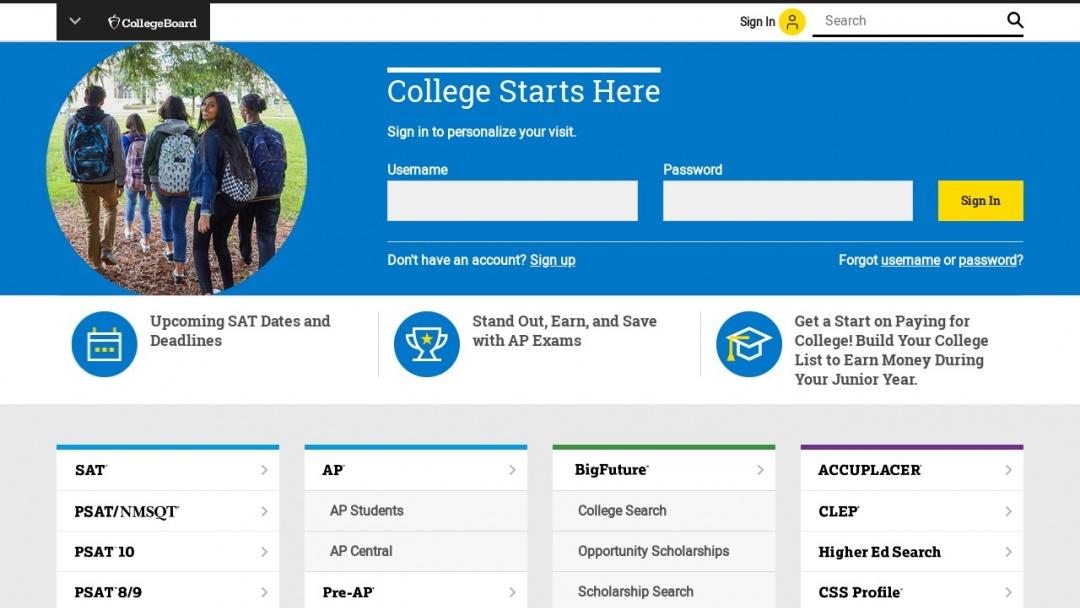Screenshot of The College Board's Website