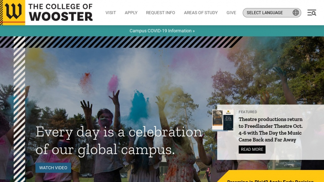 Screenshot of The College of Wooster's Website