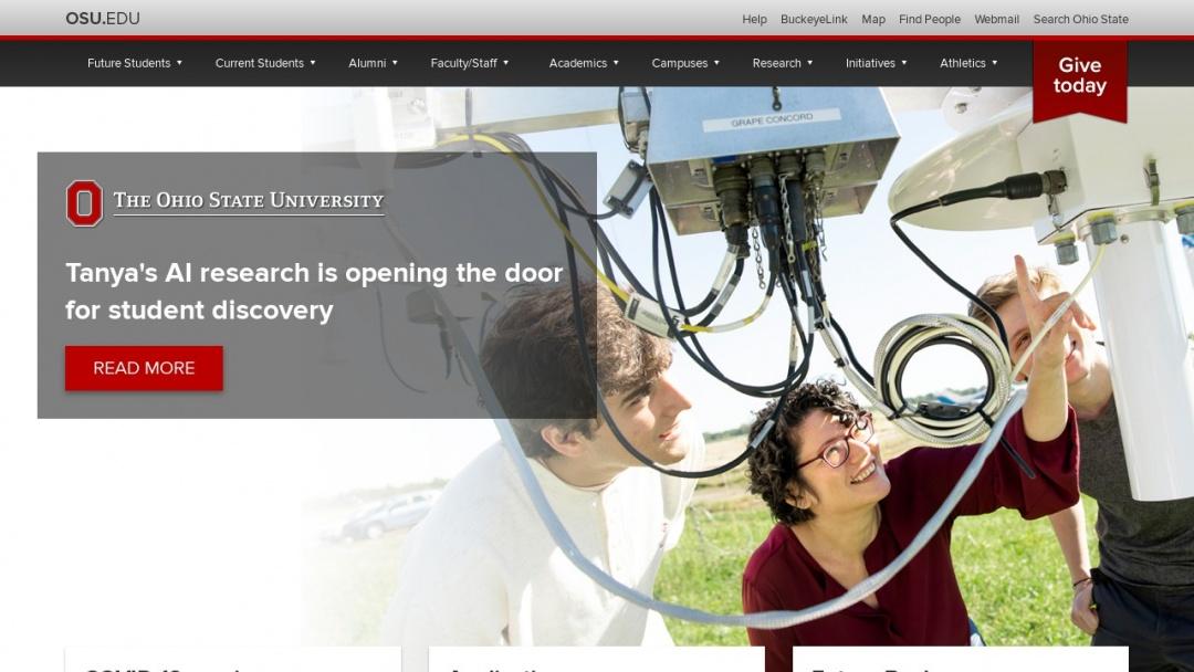Screenshot of The Ohio State University's Website