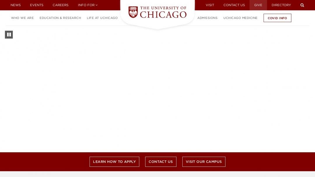 Screenshot of The University of Chicago's Website