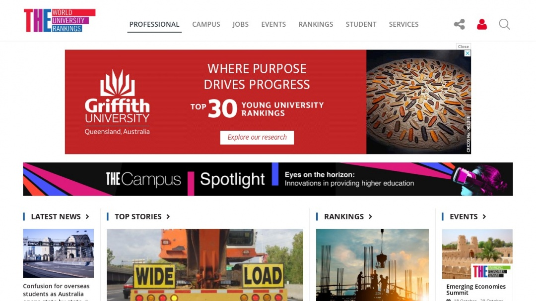 Screenshot of Times Higher Education's Website