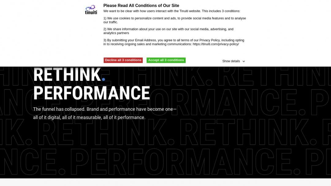 Screenshot of Tinuiti's Website