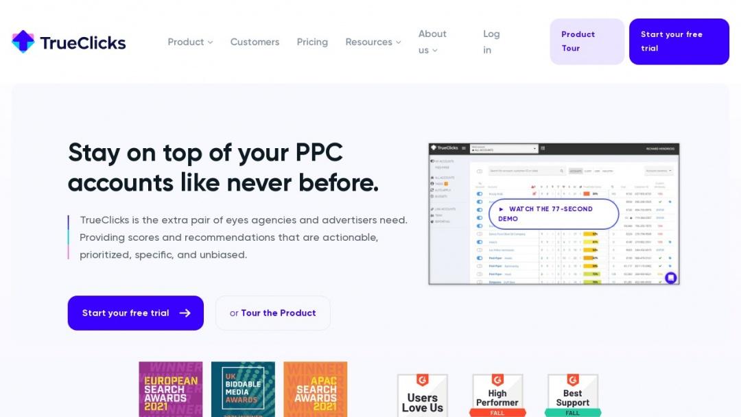 Screenshot of TrueClicks's Website