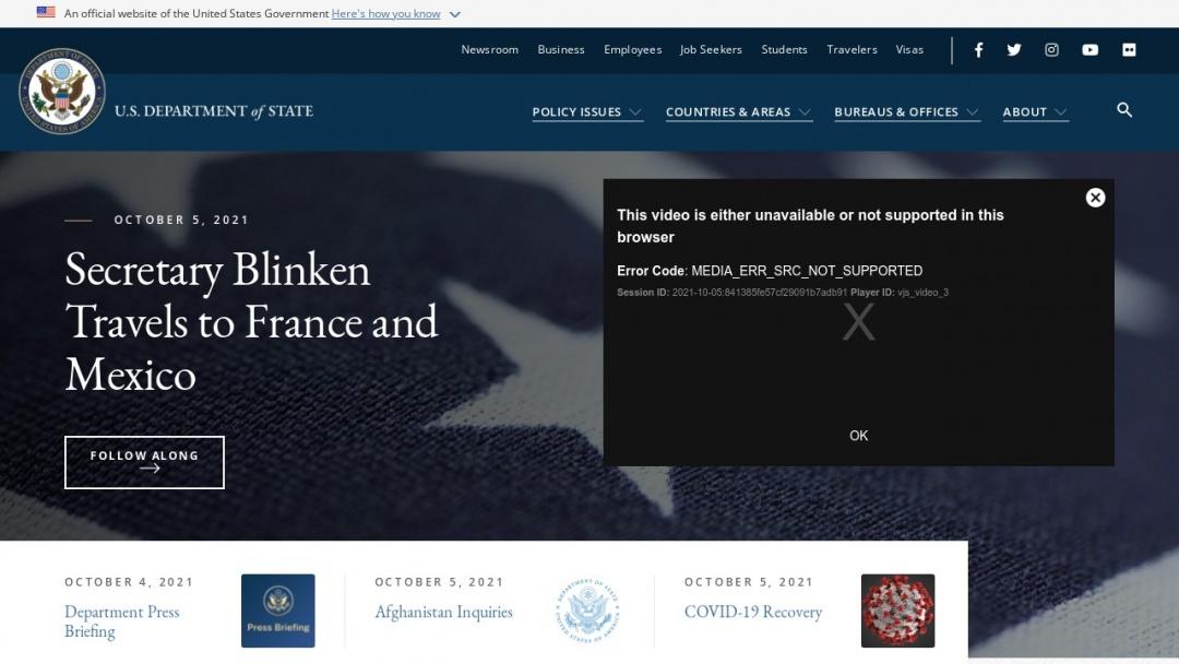 Screenshot of U.S. State Department's Website