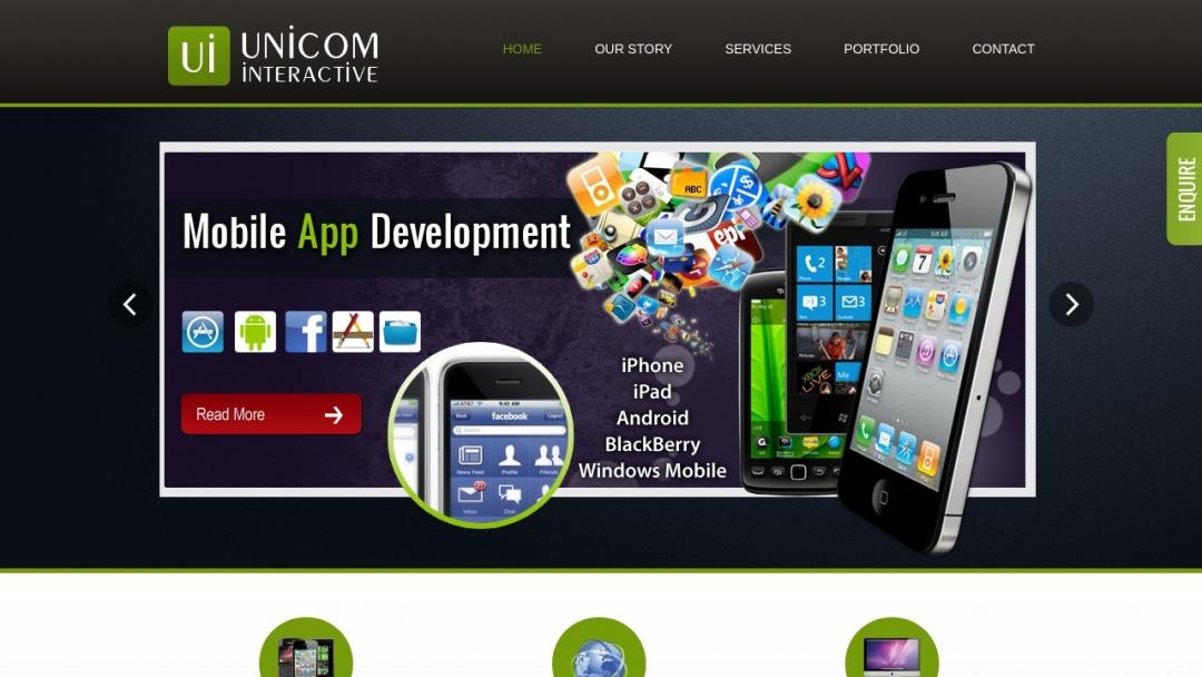 Screenshot of Unicom Interactive's Website