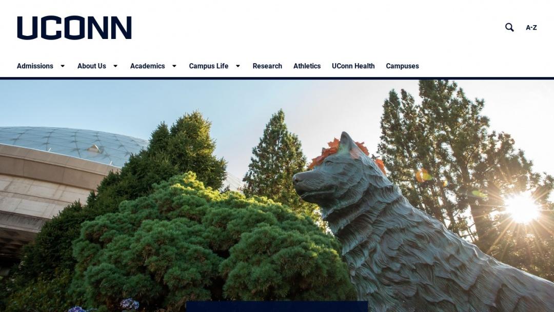 Screenshot of University of Connecticut's Website