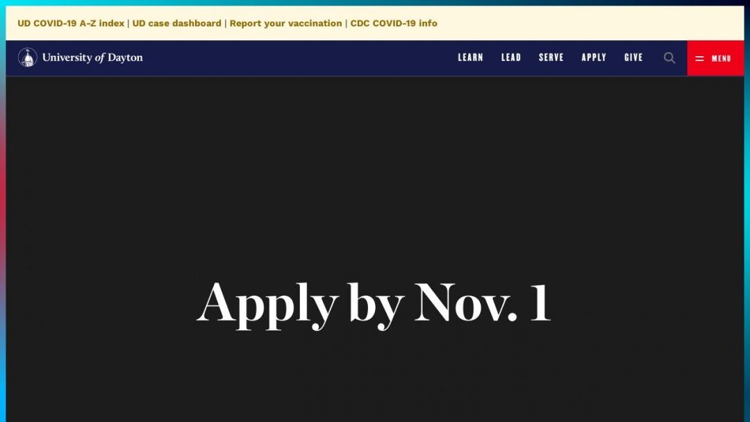 Screenshot of University of Dayton's Website