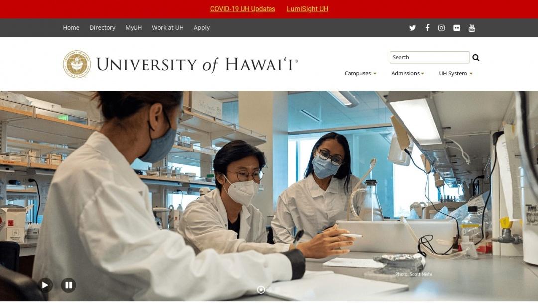 Screenshot of University of Hawaii System's Website