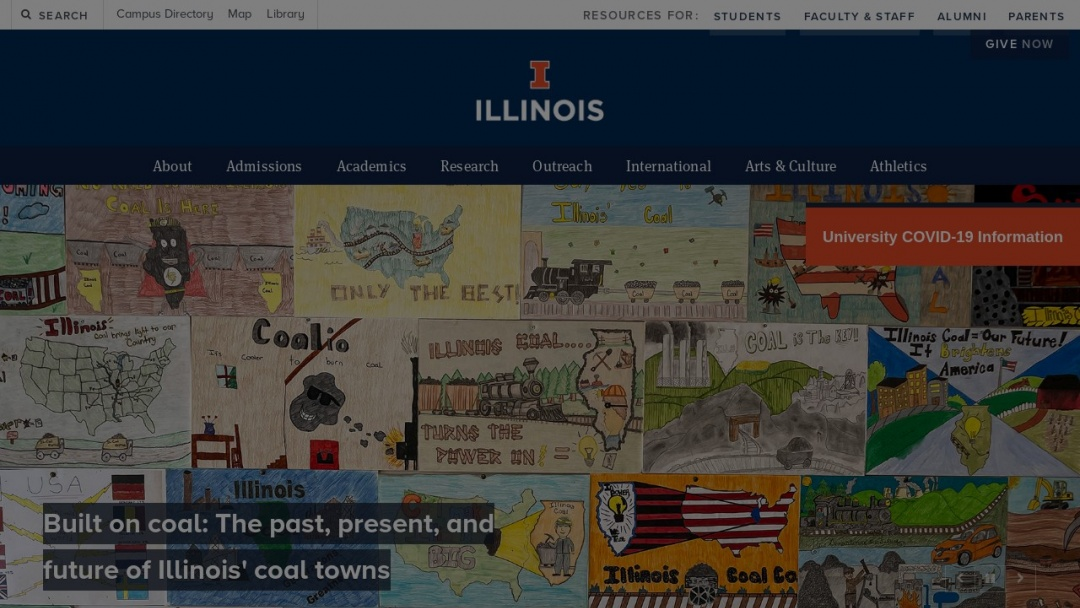 Screenshot of University of Illinois at Urbana-Champaign's Website