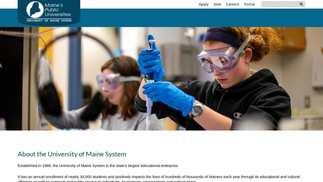 Screenshot of University of Maine System's Website
