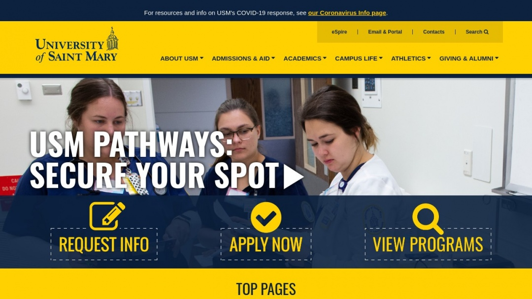 Screenshot of University of Saint Mary's Website