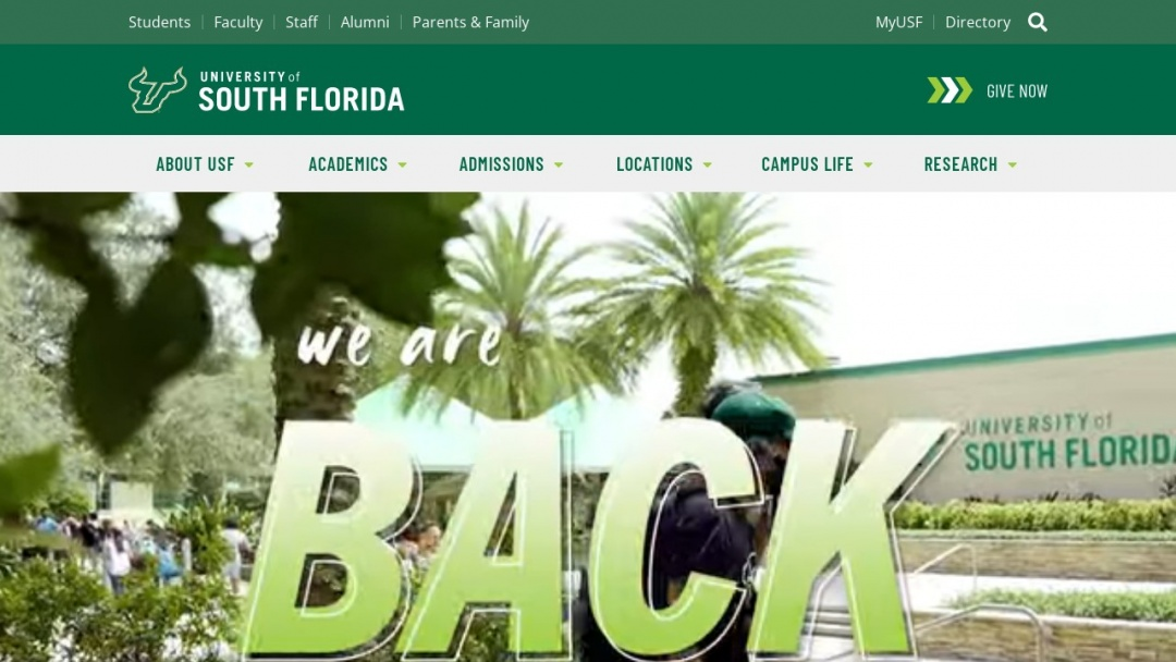 Screenshot of University of South Florida's Website