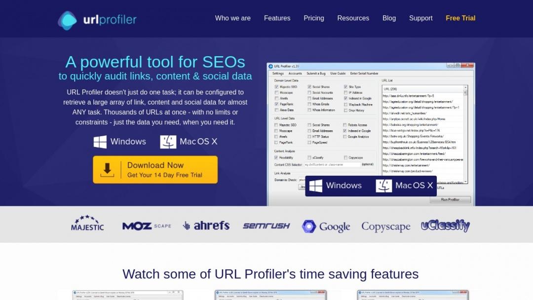 Screenshot of URL Profiler's Website