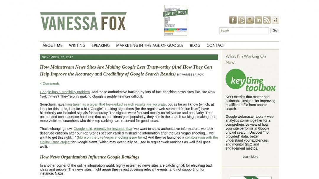 Screenshot of Vanessafox's Website