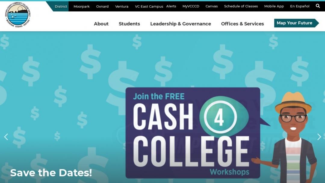 Screenshot of Ventura County Community College District's Website