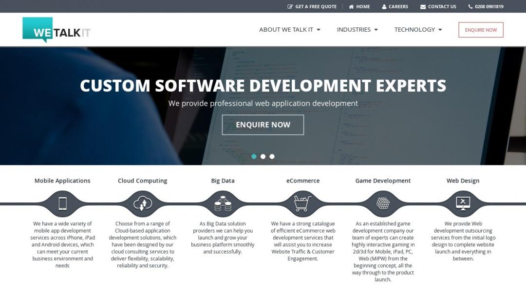 Screenshot of We Talk IT's Website