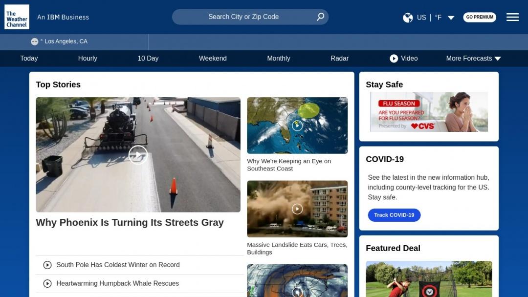 Screenshot of Weather.com's Website