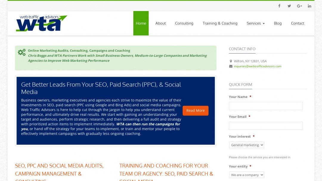 Screenshot of Web Traffic Advisors's Website