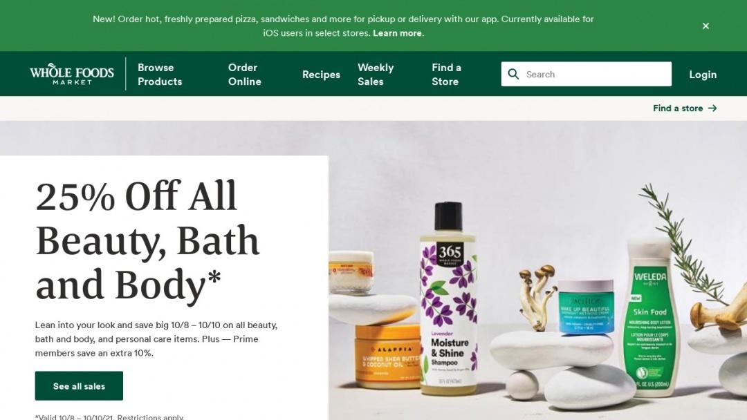 Screenshot of Whole Foods Market's Website