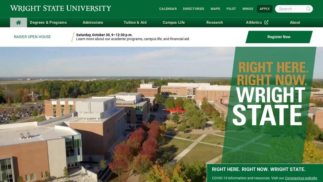 Screenshot of Wright State University's Website
