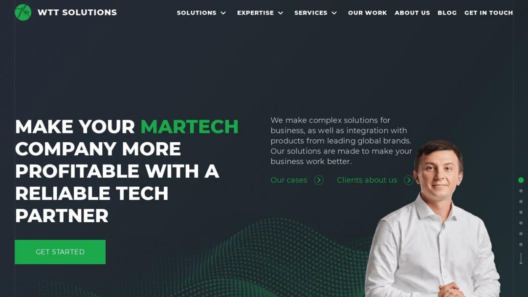 Screenshot of WTT Solutions's Website