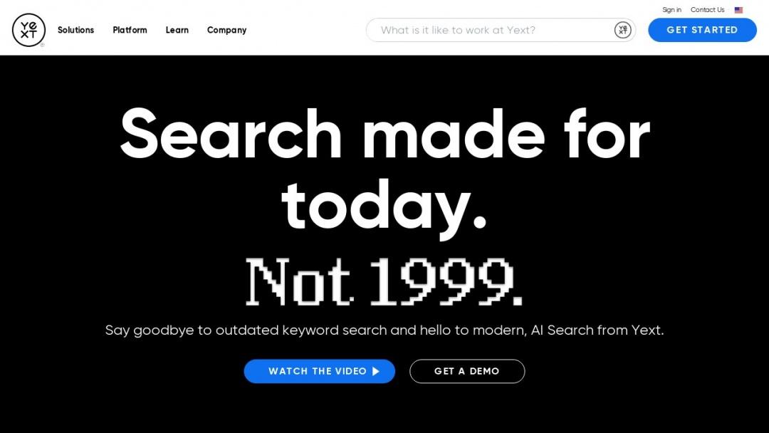 Screenshot of Yext's Website